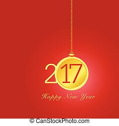 happy new year 2017 with christmas ball in colorful illustration