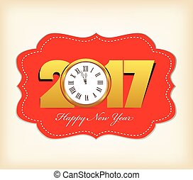 Happy New Year 2017 with clock