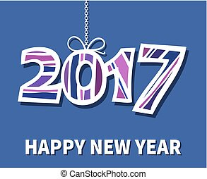 Happy New Year 2017 with drop shadow on blue