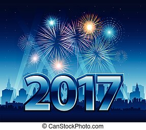 Happy New Year 2017 with fireworks and city in background