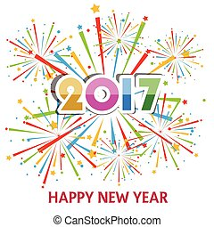 Happy New Year 2017 with fireworks