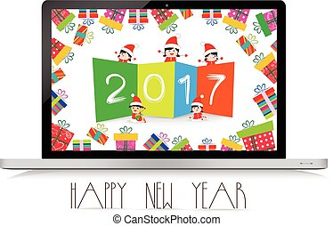 Happy new year 2017 with laptop