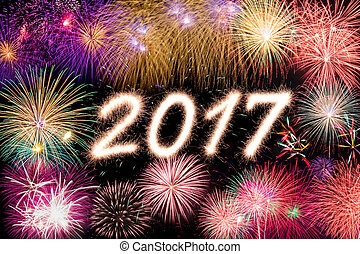 2017 - Happy new year 2017 written with Sparkle firecracker...