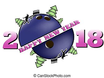 happy new year 2018 and bowling ball with Christmas trees. ...