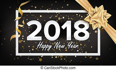 Happy New Year 2018 Background Vector. Beautiful Luxury Holiday Christmas Greeting Card. Xmas Advertising Poster, Brochure, Flyer Template Design. Holiday Illustration