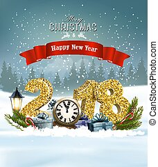 Happy New Year 2018 background with presents and clock. Vector.
