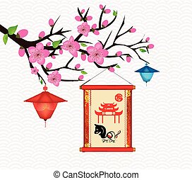 Happy New Year 2018 Blossom greeting card. Chinese New Year of the dog (hieroglyph Dog)