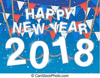 happy new year 2018 blue celebration background