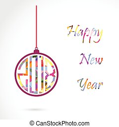 Happy New Year 2018 card design.Vector Illustration