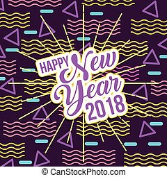 happy new year 2018 card greeting lettering creative
