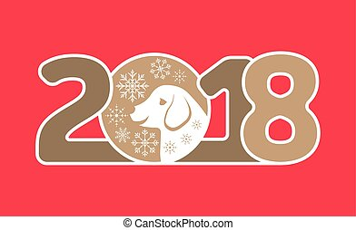 Happy New Year 2018 Card with Dog