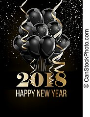 Happy New Year 2018 Christmas ball balloon decoration...