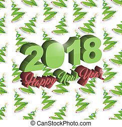 Happy new year 2018 christmas tree holiday card
