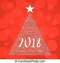 Happy New Year 2018, Christmas word cloud