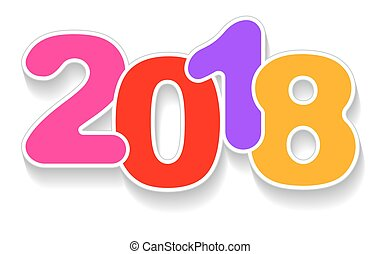 happy new year 2018 color vector background with shadow template for calendar card or