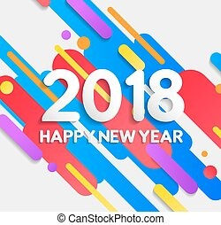Happy New Year 2018 colorful modern elements card