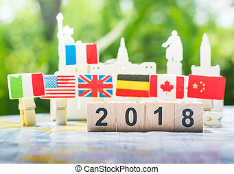 Happy new year 2018 concept, international cooperation,teamwork and partnership business concept.