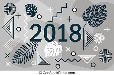 Happy new year 2018 design card with tropical leaves