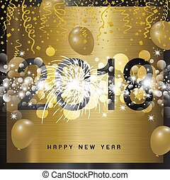 Happy new year 2018 design on metal background vector illustration
