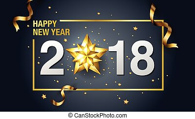 Happy New Year, 2018, Design, Template Layout, Vector.