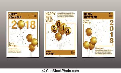 happy new year, 2018, deska, design, šablona, projekt, vector.