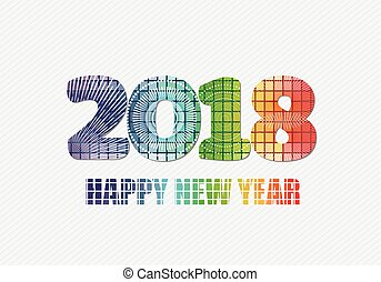 Happy new year 2018 fireworks theme