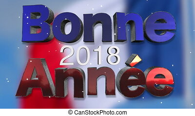 Happy New Year 2018 French Language Background Loop