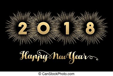 happy new year 2018 gold firework quote card