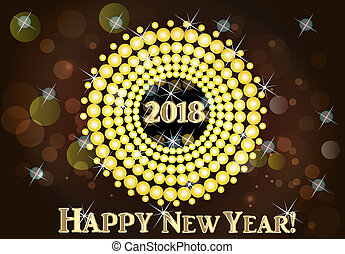Happy New Year 2018 gold image