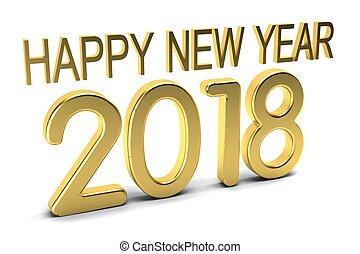 Happy New Year 2018. Golden Numbers.3D Render Illustration