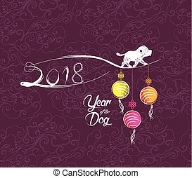 Happy New Year 2018 greeting card. Chinese New Year of the dog