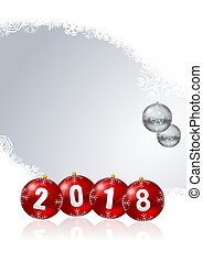 Happy new year 2018 greeting card christmas balls on white snowflakes background with empty copy space
