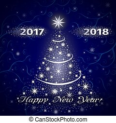 Happy New Year 2018 greeting card in blue