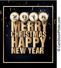 Happy new year 2018 greeting card merry christmas