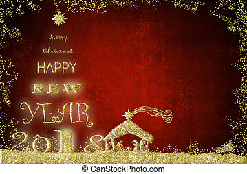 Happy New Year 2018 greeting card. - New Year 2018 greeting...