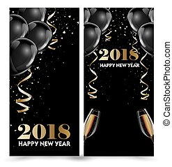 Happy New Year 2018 greeting card or banner template flyer...