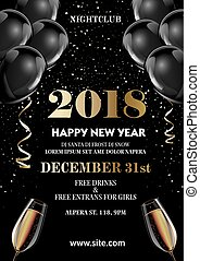 Happy New Year 2018 greeting card or poster template flyer...