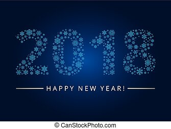 Happy New Year 2018 greeting card. Snowflake background