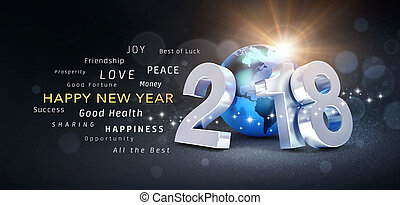 Happy New Year 2018 Greeting Card - New Year date 2018...