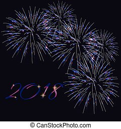Happy New Year 2018 greeting card template with text and bright fireworks on dark blue background.