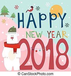 Happy New Year 2018. Greeting card with a polar bear.