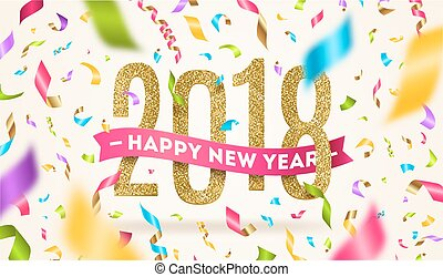 Happy New year 2018 greeting vector illustration. Year...