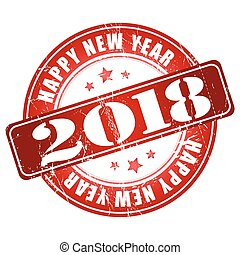 Happy New Year 2018 grunge rubber stamp.