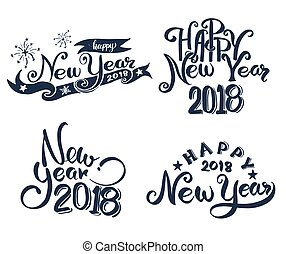 Happy New Year 2018 hand lettering