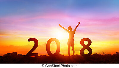 Happy new year 2018 - Happy Girl With Numbers At Sunrise