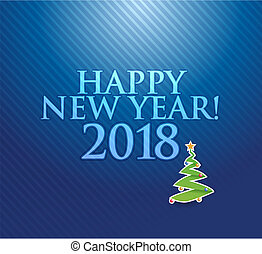 Happy new year 2018 holiday blue card illustration