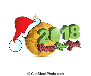 Happy new year 2018 holiday christmas golden globe