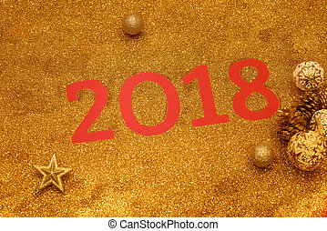 Happy New Year 2018. Holiday gold background