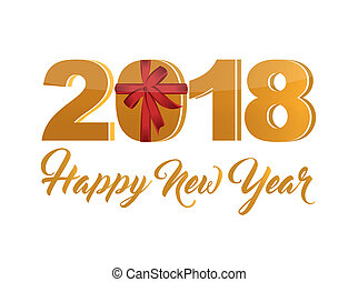 Happy new year 2018 holiday gold sign