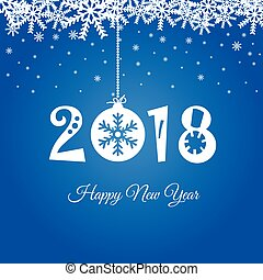 happy new year 2018 in blue illustration